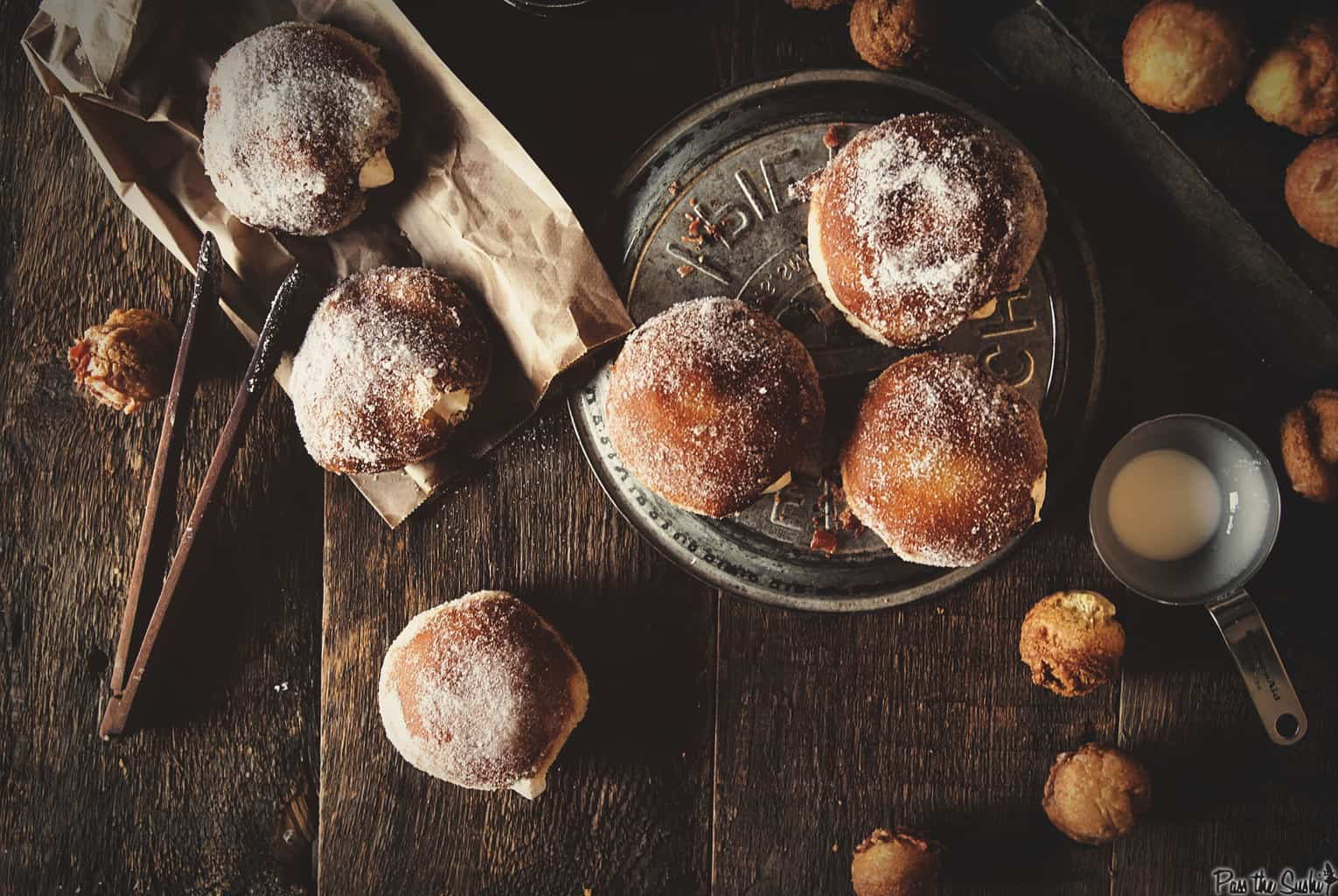 Irish Cream Doughnuts seen from above with doughnut holes scattered about   Kita Roberts PassTheSushi.com
