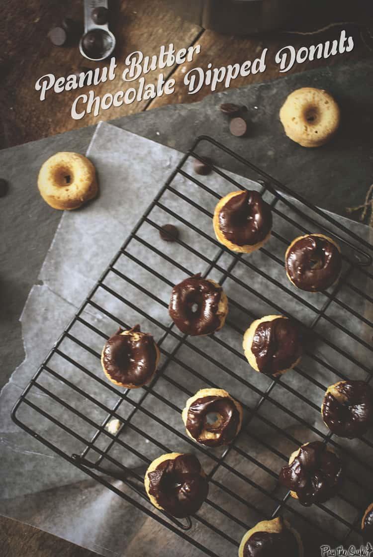 Dipped Peanut Butter Chocolate Donuts | Kita Roberts PassTheSushi.com