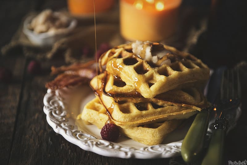 Cornmeal Buttermilk Waffles with Honey Butter - Pass The Sushi