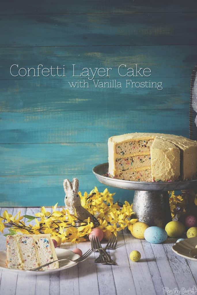 Confetti Layer Cake with Vanilla Frosting | Kita Roberts PassTheSushi.com