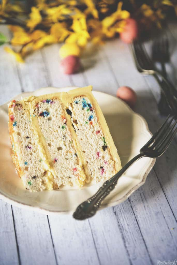 Confetti Layer Cake with Vanilla Frosting | Kita Roberts PassTheSushi.com