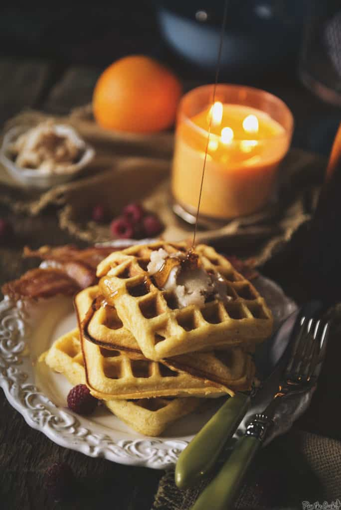 Cornmeal Buttermilk Waffles with Honey Butter   Kita Roberts PassTheSushi.com