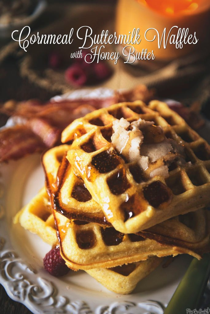 Cornmeal Buttermilk Waffles with Honey Butter | Kita Roberts PassTheSushi.com