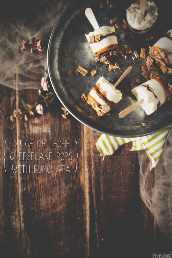 Dulce de Leche Cheesecake Pops with RumChata| Kita Roberts PassTheSushi.com
