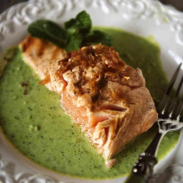 King Salmon with Peas and Mint | Kita Roberts PassTheSushi.com