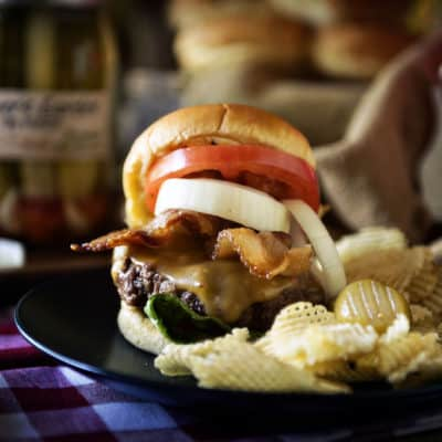 Roasted Garlic Butter Burgers #FarmToJar