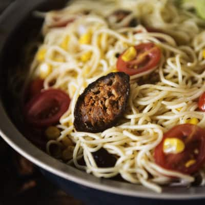 Angel Hair Pasta Salad with Corn and Chorizo for Pass the Cook Book Club