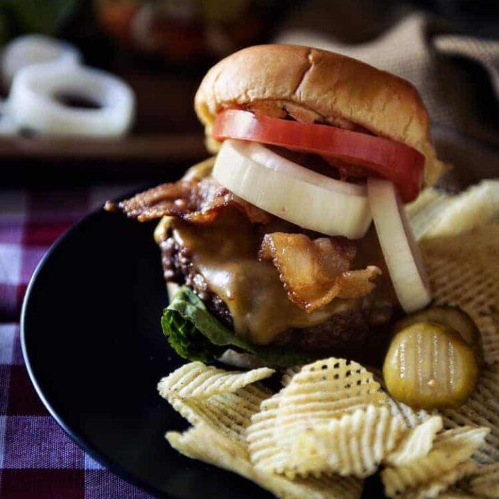 Roasted Garlic Butter Burgers #FarmToJar