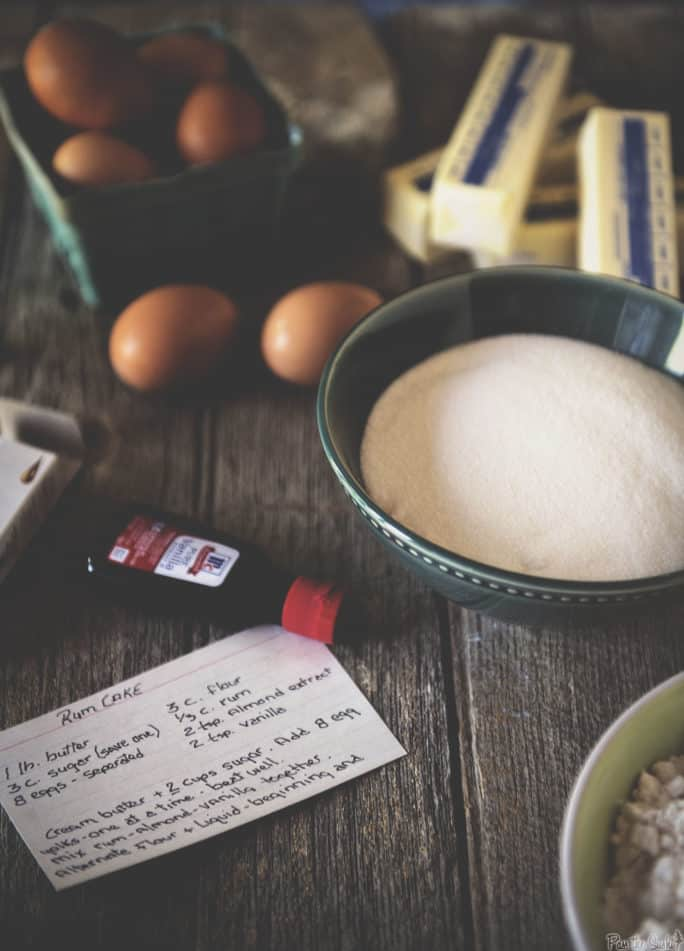 Ingredients laid out for Rum Cake Recipe | Kita Roberts PassTheSushi
