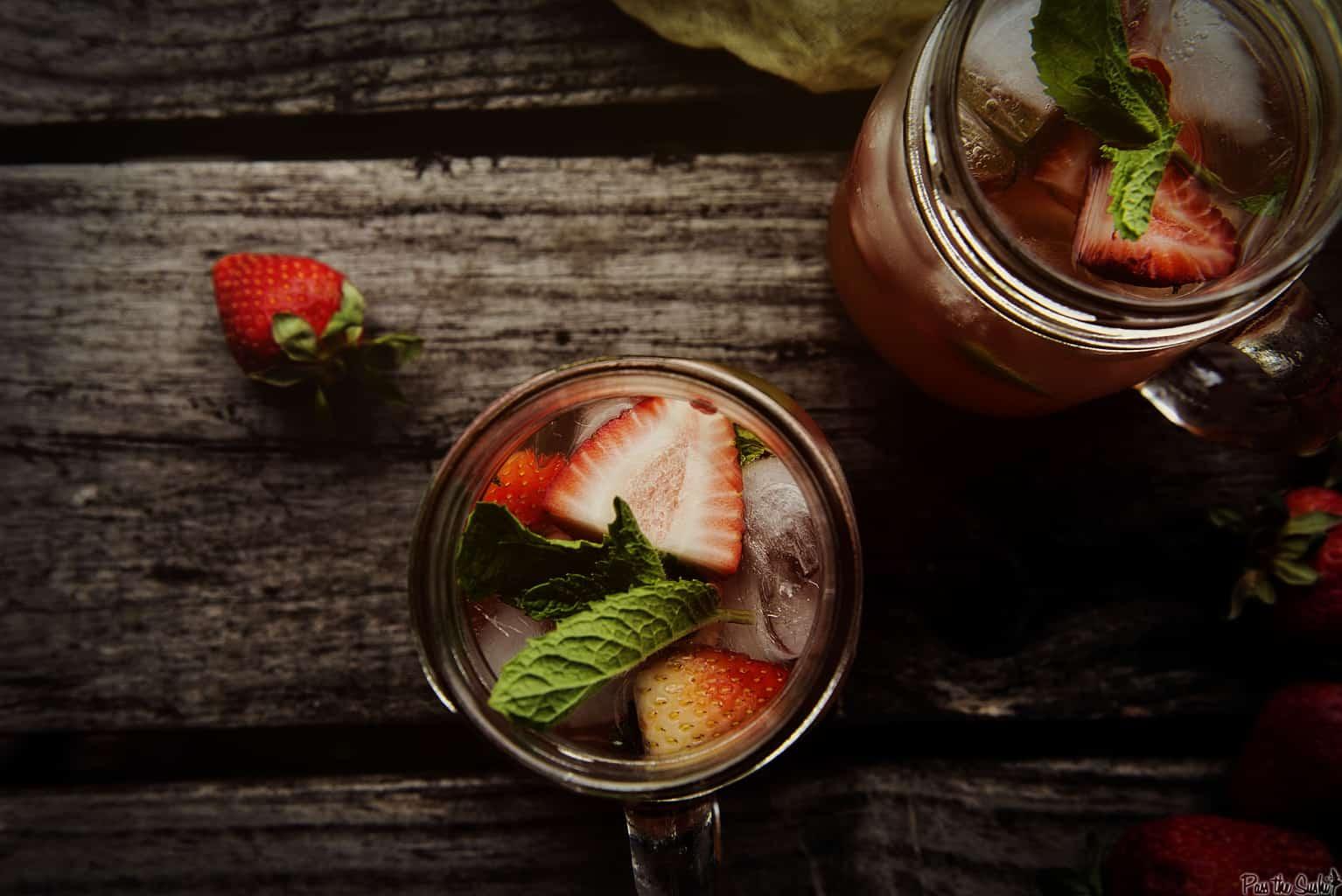 Mint Strawberry Crush Cocktail | Kita Roberts PassTheSushi.com