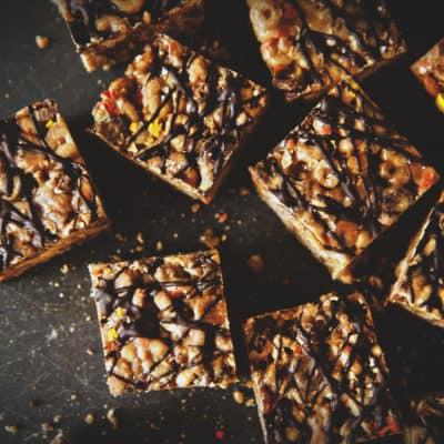 Dark Chocolate Peanut Butter Krispie Treats
