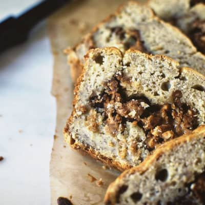 Banana Peanut Butter Swirl Bread