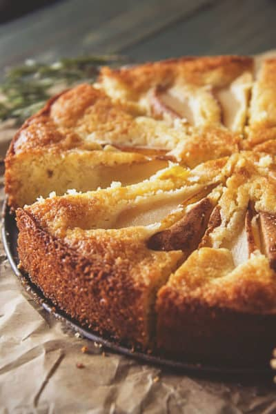 Pear Cornmeal Cake with Rosemary Simple Syrup