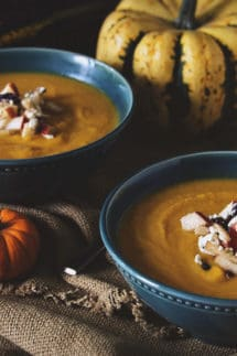 Roasted Butternut Squash Soup with Apple-Cranberry Relish