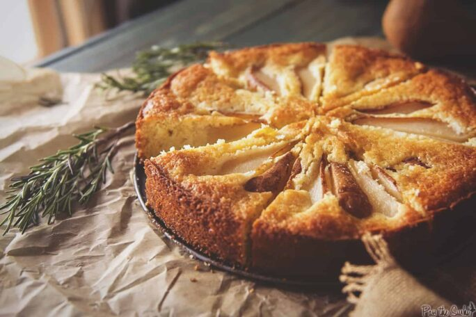 Pear Cornmeal Cake with Rosemary Simple Syrup | Kita Roberts PassTheSushi.com
