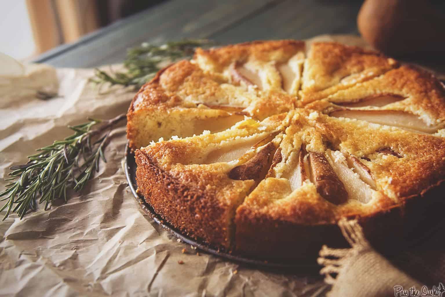 Pear Cornmeal Cake with Rosemary Simple Syrup   Kita Roberts PassTheSushi.com