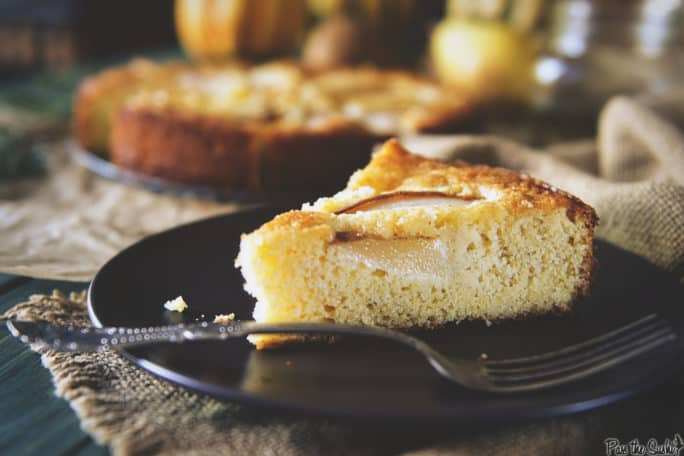 Pear Cornmeal Cake with Rosemary Simple Syrup | Kita Roberts PassTheSushi.com