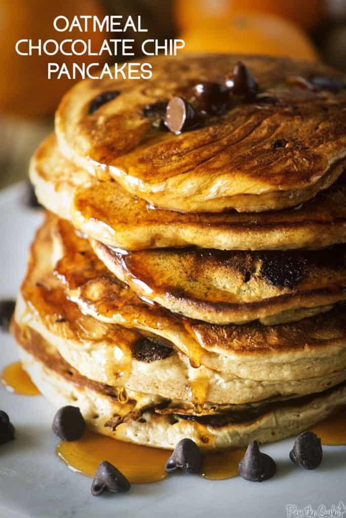 Oatmeal Chocolate Chip Pancakes | Kita Roberts PassTheSushi.com