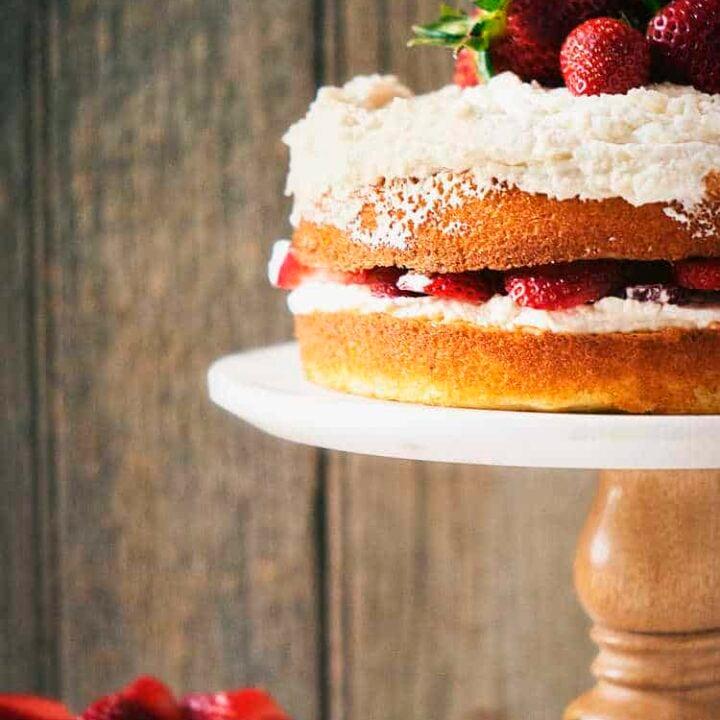 Strawberry Layer Cake | Kita Roberts PassTheSushi.com