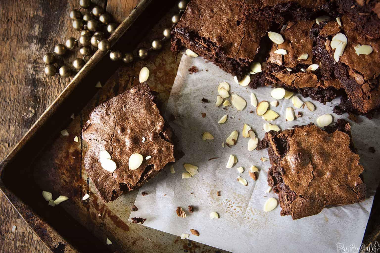 Fudgy Amaretto Brownies | Kita Roberts PassTheSushi.com