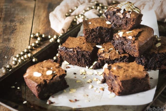 Fudgy Amaretto Brownies   Kita Roberts PassTheSushi.com