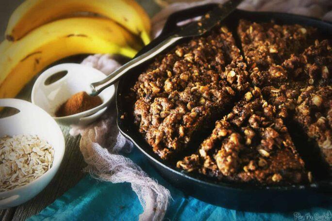 Skillet Banana Crumb Cake | Kita Roberts PassTheSushi.com