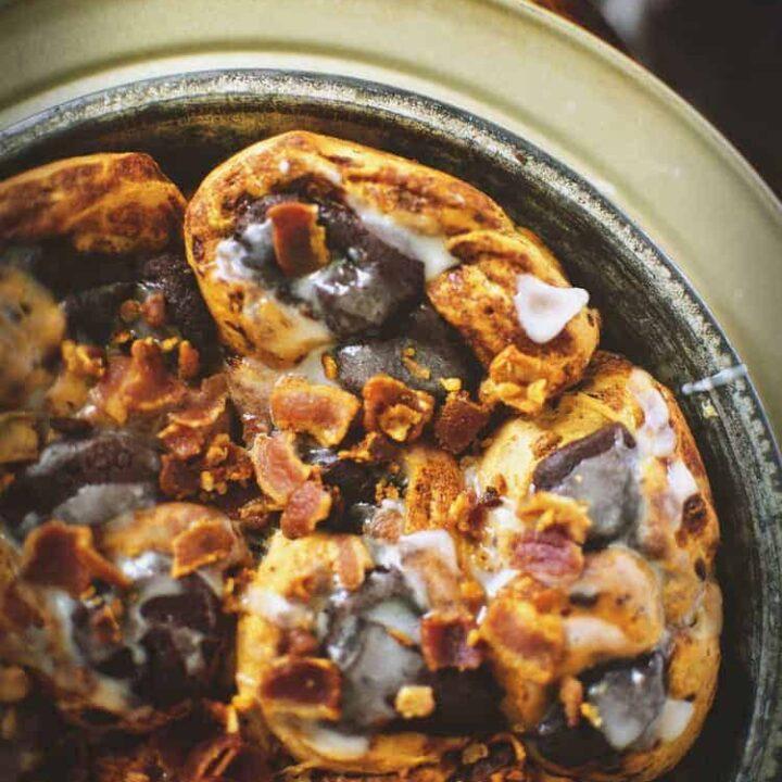 Bacon Topped Chocolate Stuffed Cinnamon Buns | Kita Roberts PassTheSushi
