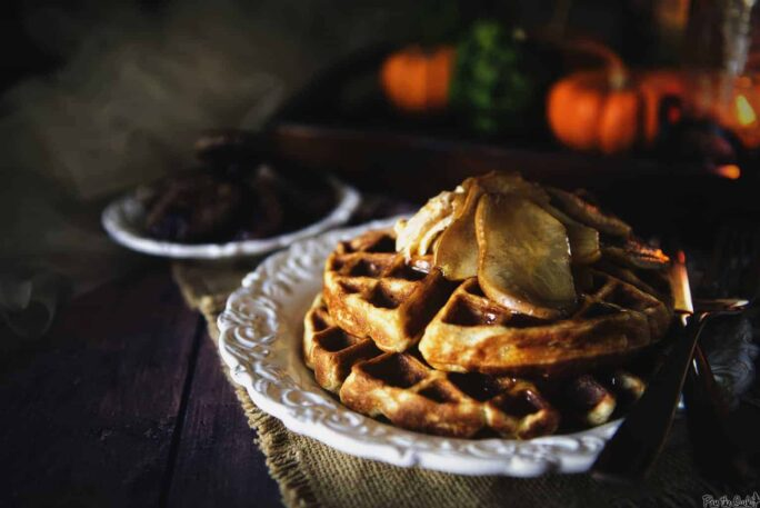 Spiced Buttermilk Waffles with Amaretto Glazed Pears | Kita Roberts PassTheSushi.com