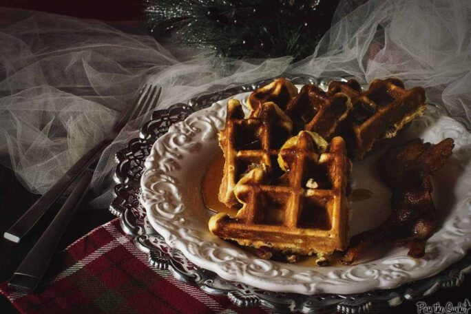 Spiked Eggnog Belgian Waffles with Warmed Boozy Syrup | Kita Roberts PassTheSushi.com