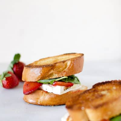Savory Balsamic Roasted Strawberry and Basil Grilled Cheese