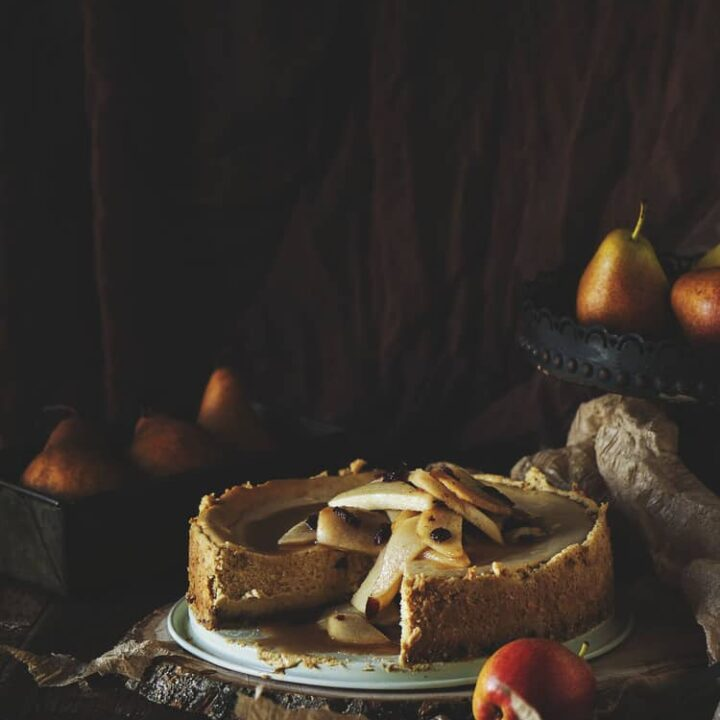 Maple Cheesecake with Cinnamon Pear Topping | Kita Roberts PassTheSushi.com
