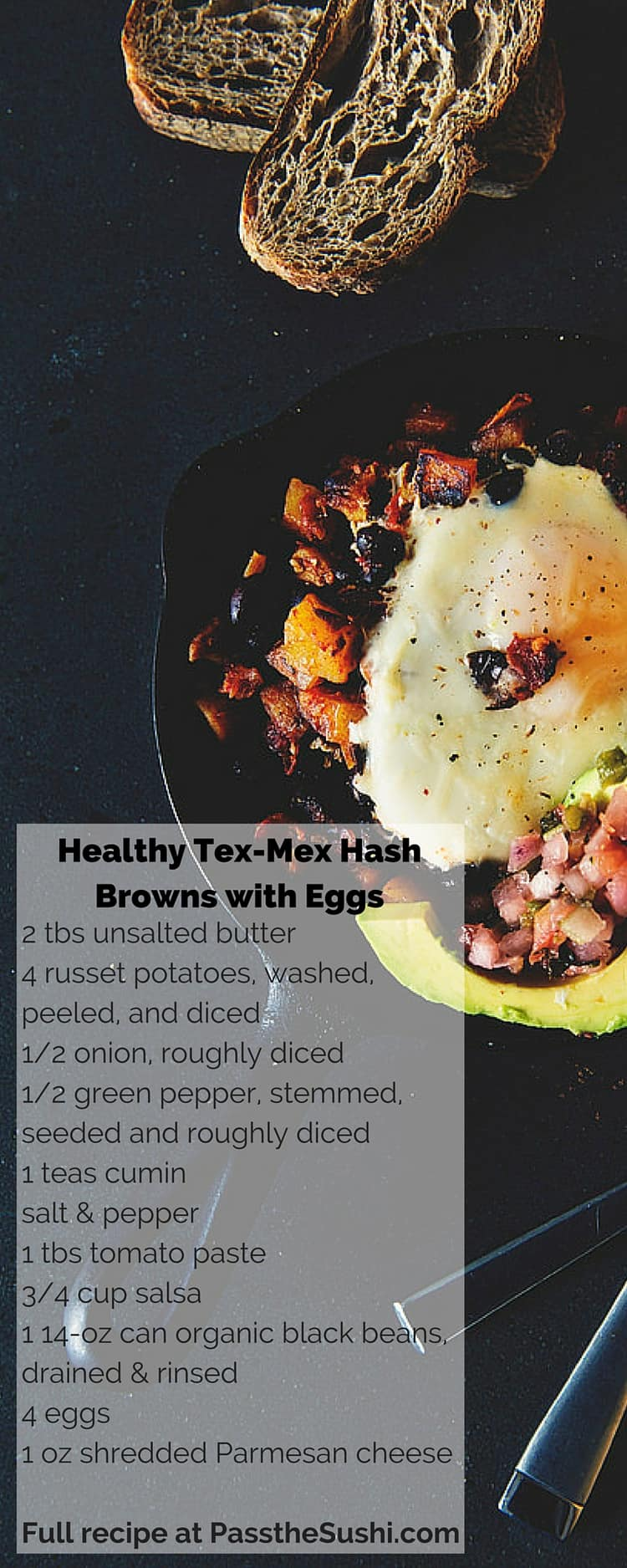 Healthy Spicy Tex-Mex Hash Browns with Eggs for Brunch
