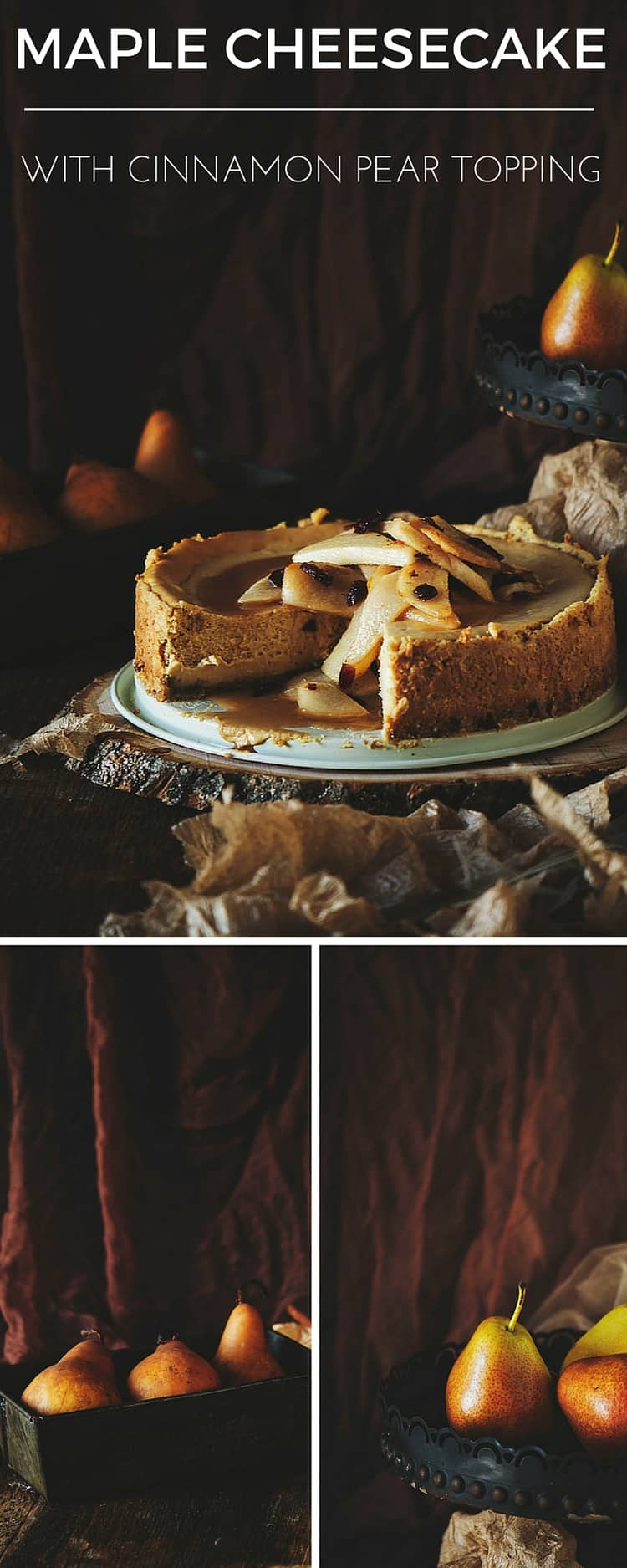 Maple Cheesecake with Cinnamon Pear Topping Recipe
