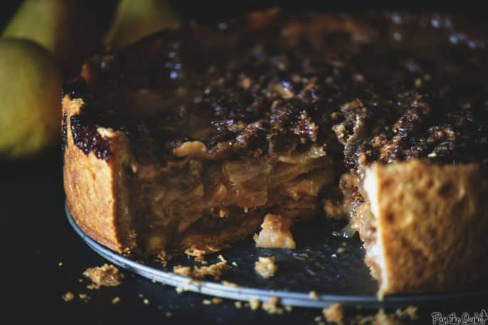 Deep Dish Caramel Pear Pie | Kita Roberts PassTheSushi.com