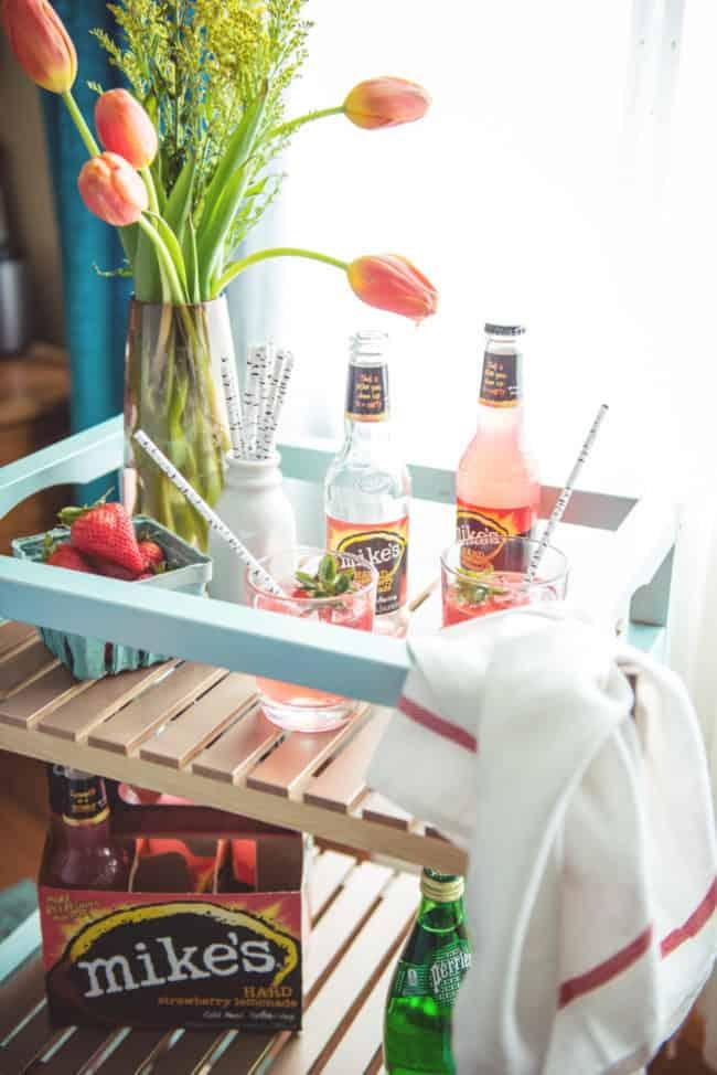DIY IKEA HACK Bar Cart and a fun little Strawberry Lemonade Spritzer Recipe