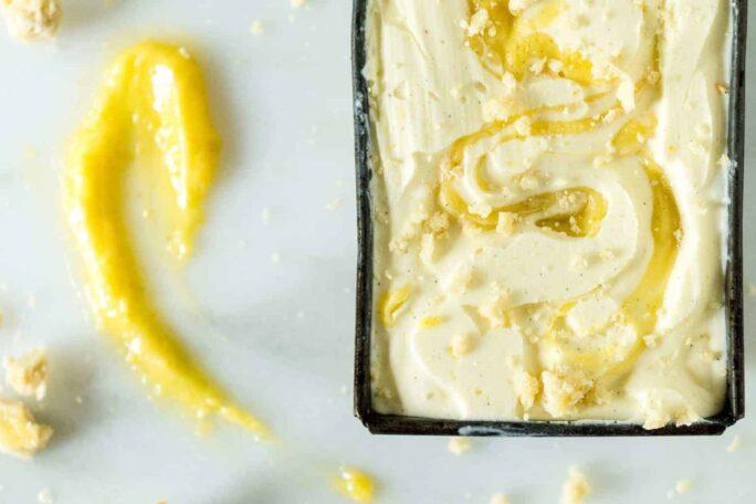 Limoncello Gelato with Vanilla Lemon Curd Swirl | Kita Roberts PassTheSushi.com