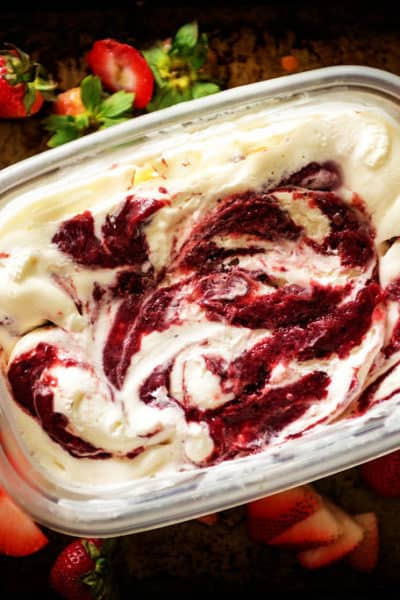 Sweet Cream Ice Cream with Roasted Strawberry Jam Swirl