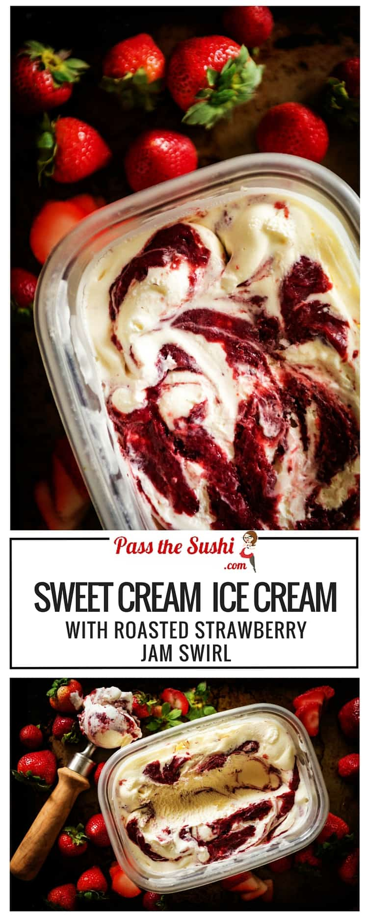Sweet Cream Ice Cream with Roasted Strawberry Jam Swirl