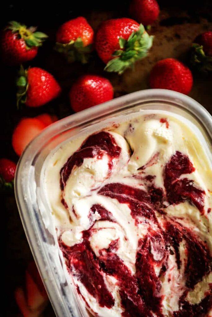Sweet Cream Ice Cream with Roasted Strawberry Jam Swirl | Kita Roberts PassTheSushi.com