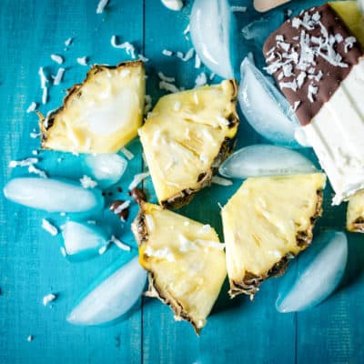 Chocolate Dipped Boozy Pina Colada Popsicles