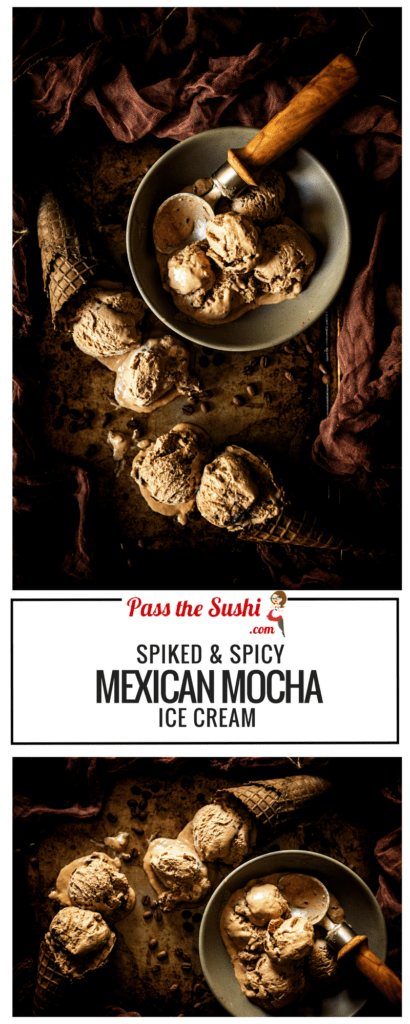 Spiked & Spicy Mexican Mocha Ice Cream - A smooth mocha ice cream with spike with tequila and a touch of heat.