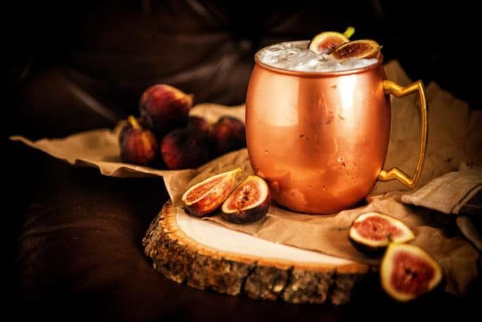 Muddled Fig Moscow Mule Cocktail | Kita Roberts PassTheSushi.com