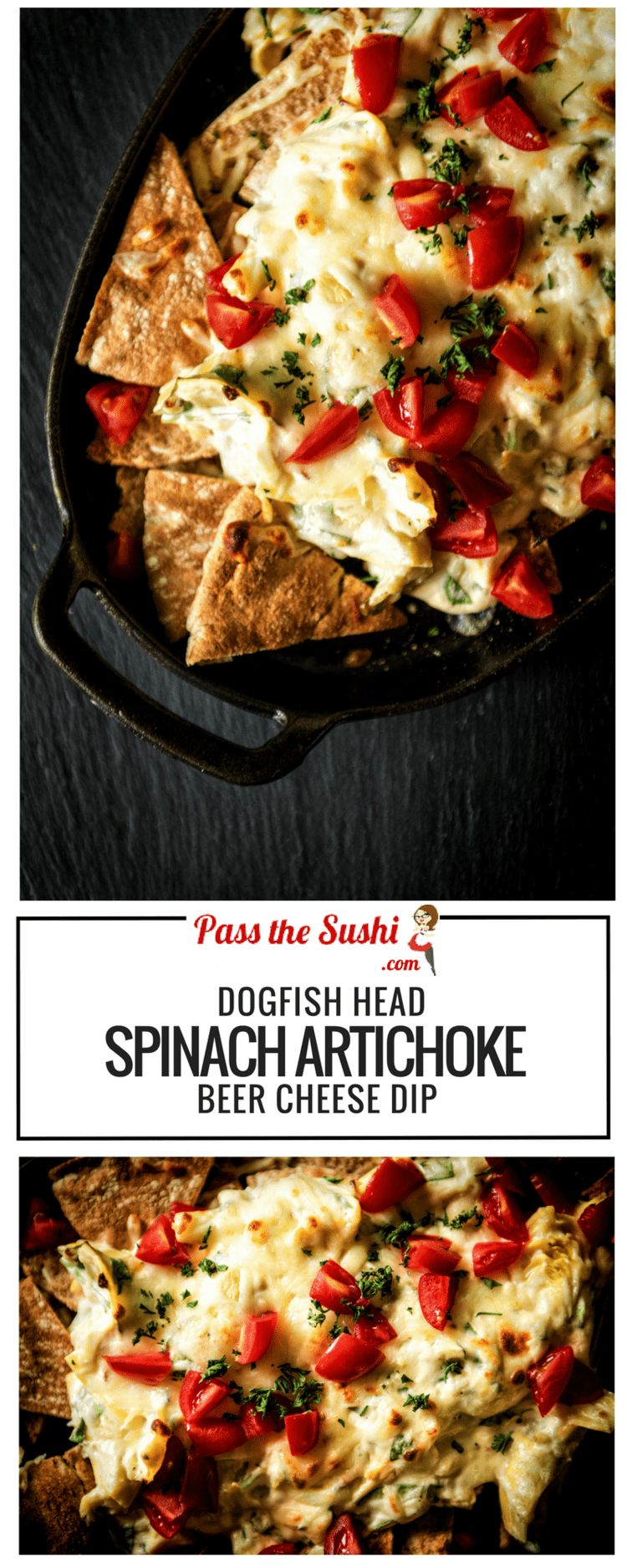I LOVE this Dogfish Head Spinach Artichoke Beer Cheese Dip for parties! Full recipe on PasstheSushi.com