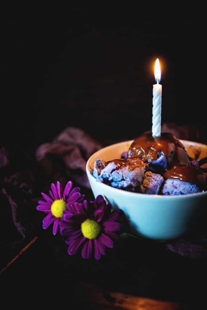 Spiked Potato and Huckleberry Swirl Ice Cream | Kita Roberts PassTheSushi.com