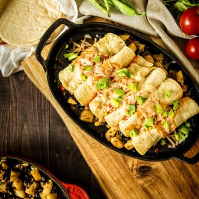 30 Minute Meatless Potato and Bean Stuffed Enchiladas