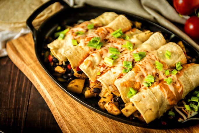 30 Minute Meatless Potato and Bean Stuffed Enchiladas | Kita Roberts PassTheSushi.com