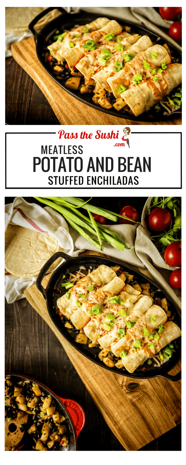 30 Minute Meatless Potato and Bean Enchiladas | Recipe at PasstheSushi.com