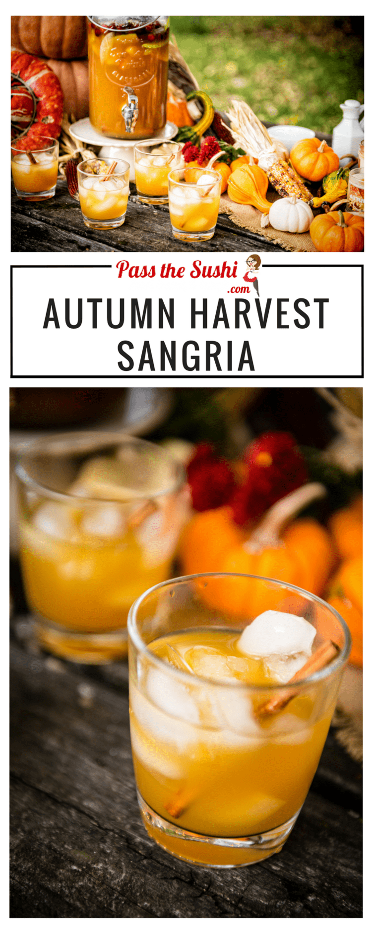 Autumn Harvest Sangria - a crisp blend of hard cider, seasonal fruit, whiskey and wine this sangria is a perfect seasonal cocktail. Recipe at PasstheSushi.com