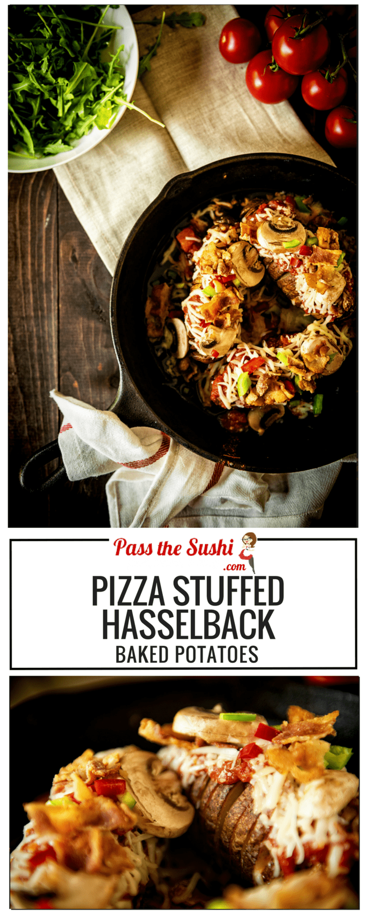 So fun!! Pizza Stuffed Hasselback Baked Potatoes | Recipe at PasstheSushi.com
