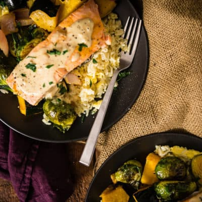 Curry Roasted Salmon & Veggies With Tahini Sauce over Basmati